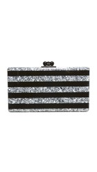 Edie Parker Jean Striped Clutch Black Silver Confetti
