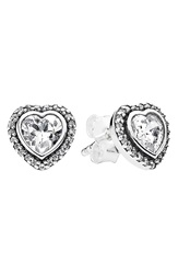 Pandora Design 'Sparkling Love' Heart Stud Earrings Silver Clear