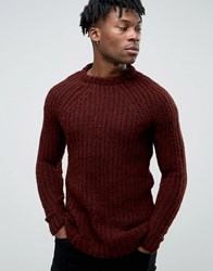 Pull And Bear Pullandbear Chunky Knit Jumper In Burgundy Burgundy Red