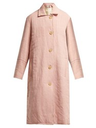 By Walid Vicki Raw Edge Linen Coat Pale Pink