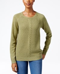 Karen Scott Cable Knit Crew Neck Sweater Only At Macy's Hazel Marl