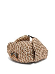 Prada Twist Jacquard Brocade Trapper Hat Gold