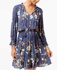 American Rag Ruffled Floral Print Fit And Flare Dress Only At Macy's Dark Denim Combo