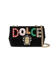Dolce And Gabbana Lucia Studded Quilted Shoulder Bag Women Cotton Calf Leather Metal One Size Black