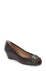 J. Renee Women's Dovehouse' Perforated Peep Toe Wedge Black Leather
