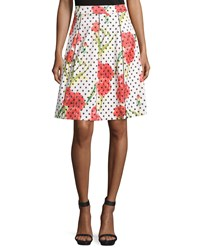 P. Luca Floral Polka Dot A Line Skirt Wht Red P