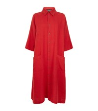 Eskandar Soft Linen Shirt Dress Red