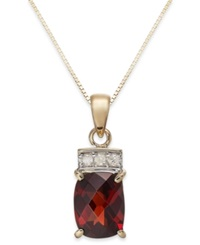 Macy's Garnet 2 3 8 Ct. T.W. And Diamond Accent Pendant Necklace In 14K Gold Yellow Gold