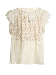 Stella Mccartney Drawstring Neck Floral Lace Top Ivory