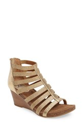 Sofft Women's Mati Caged Wedge Sandal Rich Gold Leather