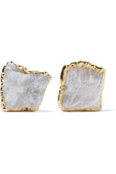 Dara Ettinger Gold Tone Stone Earrings White