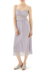 Topshop Women's Side Cutout Tulle Midi Dress Lilac