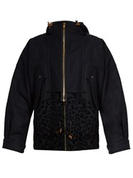 Kolor Hooded Wool Blend Field Jacket Navy
