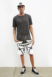 Forever 21 Leef Abstract Geo Print Shorts White Black