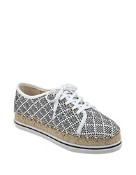 Ivanka Trump Nallis Dotted Lace Up Espadrille Sneakers Black