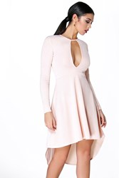 Lorna Long Sleeve Keyhole Dip Hem Skater Dress