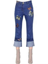 Valentino Butterfly Embroidered Cotton Denim Jeans