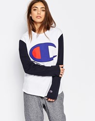 Champion Long Sleeve Top With Oversized Retro Logo Wht Nny Multi