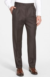 Men's Santorelli 'Luxury Serge' Double Pleated Wool Trousers
