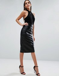 Asos Leather Pencil Skirt With Corset Detail Black
