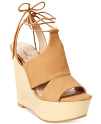 Aldo Women's Gwyni Platform Wedge Tie Up Sandals Dark Tan