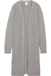 Madeleine Thompson Cable Knit Wool And Cashmere Blend Cardigan Gray