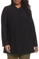 Eileen Fisher Plus Size Women's Mandarin Collar Knit Jacket Black