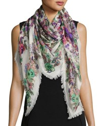 Roberto Cavalli Floral Silk And Cashmere Square Peacock Scarf Pink Multicolor Pink Pattern