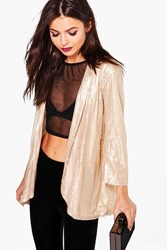 Boohoo Boutique Sequin Tailored Blazer Gold