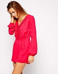 Girls On Film Playsuit With Lace Detail Pink