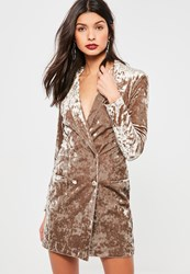 Missguided Tan Crushed Velvet Blazer Dress Taupe