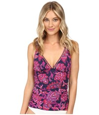 Tommy Bahama Jacobean Floral V Neck Tankini Top Wild Orchid Pink Women's Swimwear