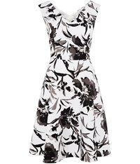 Cc Monochrome Floral Fit And Flare Dress