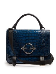 J.W.Anderson Disc Crocodile Effect Leather Satchel Bag Navy
