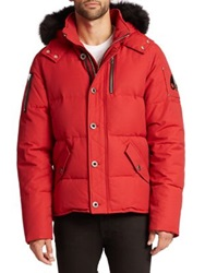 Moose Knuckles 3Q Fur Trimmed Puffer Jacket Red Grey Navy