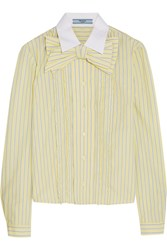 Prada Bow Embellished Ruffled Striped Cotton Shirt Pastel Yellow