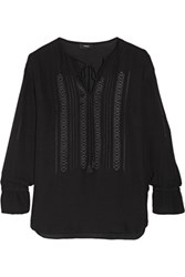 Theory Alrik Embroidered Silk Chiffon Blouse Black