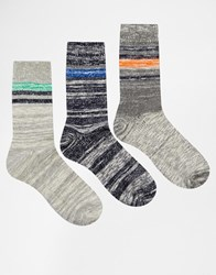 Asos Boot Socks 3 Pack With Stripes Grey