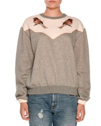 Stella Mccartney Bird Embroidered Crewneck Sweatshirt Gray