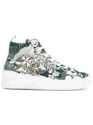 N 21 No21 Embellished Tropical High Tops Women Cotton Leather Rubber 36 Green