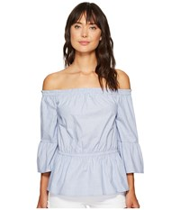 Kensie Oxford Shirting Off Shoulder Top Ks6u4107 Lapis Combo Women's Clothing Blue