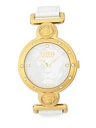 Versus By Versace Yellow Goldtone Stainless Steel White Dial Leather Strap Watch
