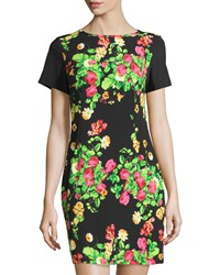 Melissa Masse Garden Print Short Sleeve Sheath Dress Heirloom Garden