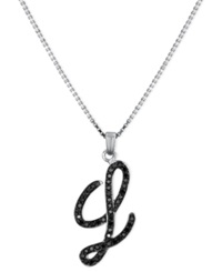 Macy's Sterling Silver Necklace Black Diamond 'L' Initial Pendant 1 4 Ct. T.W.