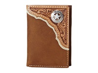 Mandf Western Star Concho Tri Fold Wallet Brown Wallet Handbags