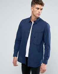 G Star Stalt Slim Fit Shirt Long Sleeve Mazarine Blue Milk