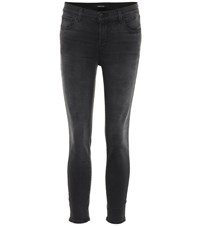 J Brand Mid Rise Cropped Skinny Jeans Black