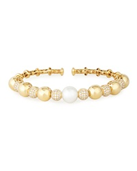 18K Yellow Gold South Sea Pearl And Diamond Bangle Yoko London