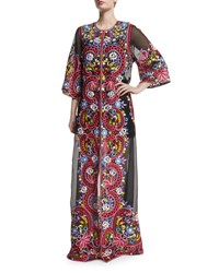 Naeem Khan Long Embroidered Silk Coat Black Multi
