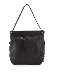 Jessica Embossed Leather Shoulder Bag Black Oryany